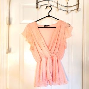 Beautiful Med Pink Shimmery Polka Dotted Top